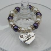 Chief Bridesmaid Wine Glass Charm - Full Sparkle Style